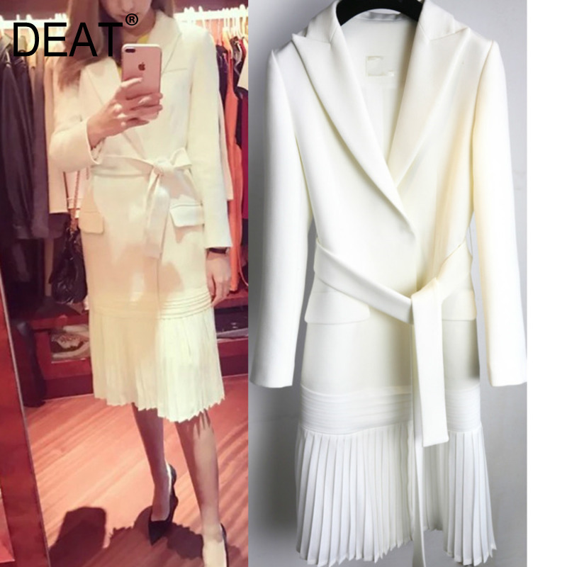 DEAT 2019 new fashion women clothes turn down collar full sleeve sashes open stitch pleated bottom