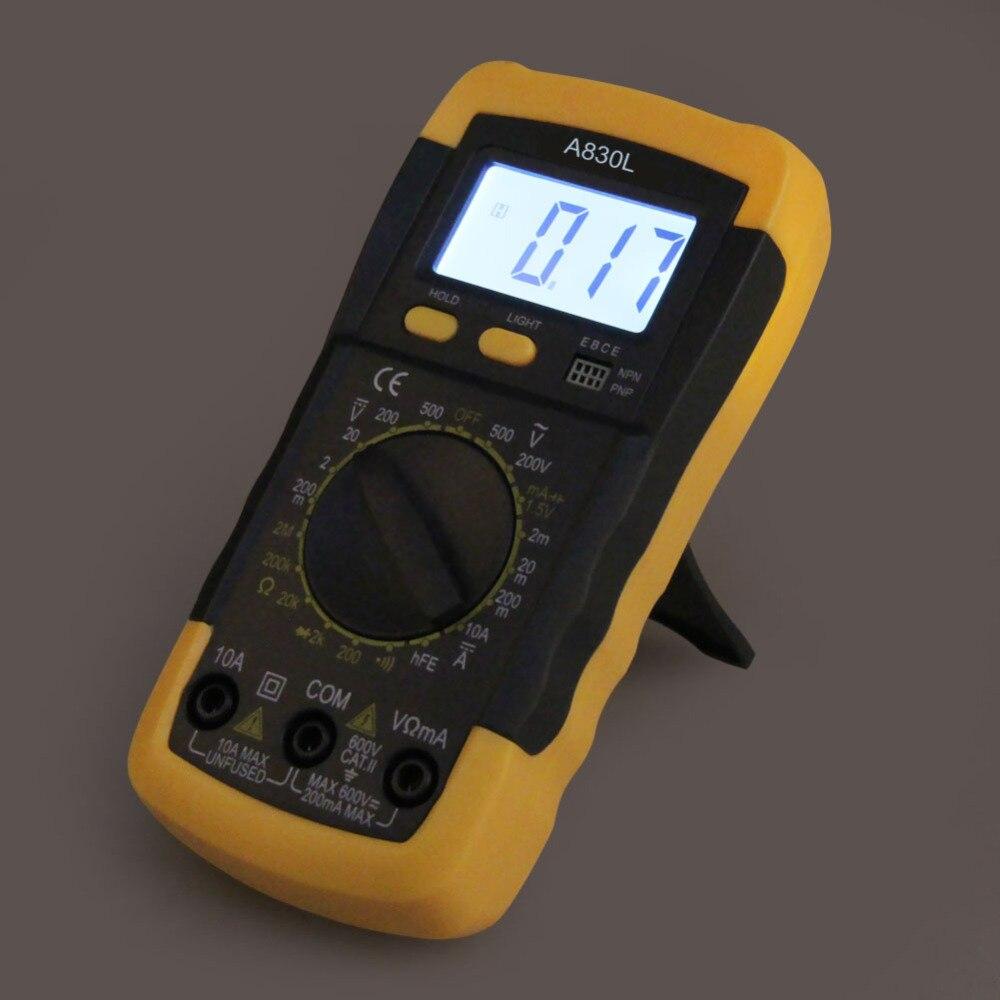 Multímetro Digital A830L LCD amperímetro eléctrico voltímetro medidor de mano AC DC multímetro Digital multímetro