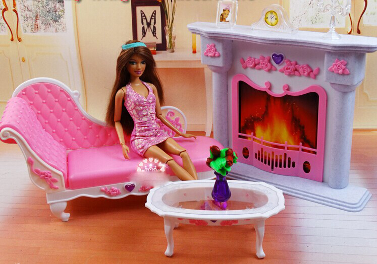 fireplace tea table long chair set dollhouse furniture puzzle baby toy accessories decoration barbie doll house furniture sets