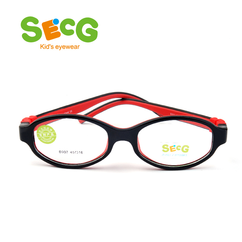 SECG Student Cute Optical Frame Safty Comfortable Flexible Eyeglasses For Children Unisex Kids Frame Rubber With Straps Gafas