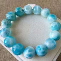 Genuine Natural Blue Larimar Ice Gems Big Round Beads Healing Stone Women Man Bracelet AAAAA 14mm