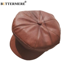 BUTTERMERE Newsboy Cap Women Leather Sheepskin Flat Winter Ladies Brown Korean Retro Gatsby Hat Painter Female Octagonal