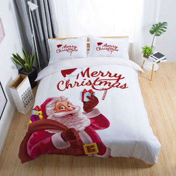 Christmas Bedding Red Color Bed Linen Christmas Decorations For Bedroom Queen King Size Duvet Cover Pillowcase
