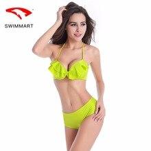 SWIMMART bikini solid color sexy ruffled swimwear women high waist bathing suit swimming push up