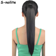 S-noilite Fake Hair Ponytail Long Straight Hair Pieces Synthetic Hair 125g 22-26″ Hairpiece Clip In Pony tail Multicolor