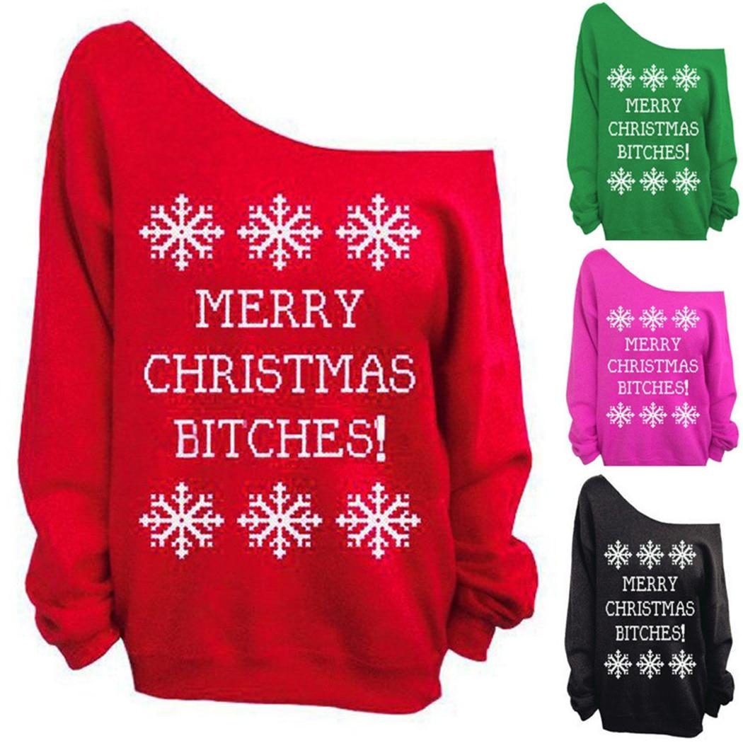 2018 weihnachten Sweatshirt Frauen Brief Schneeflocke Gedruckt Hoodies Sexy Off Schulter Langarm Pullover Weibliche Weihnachten Tops Moletom