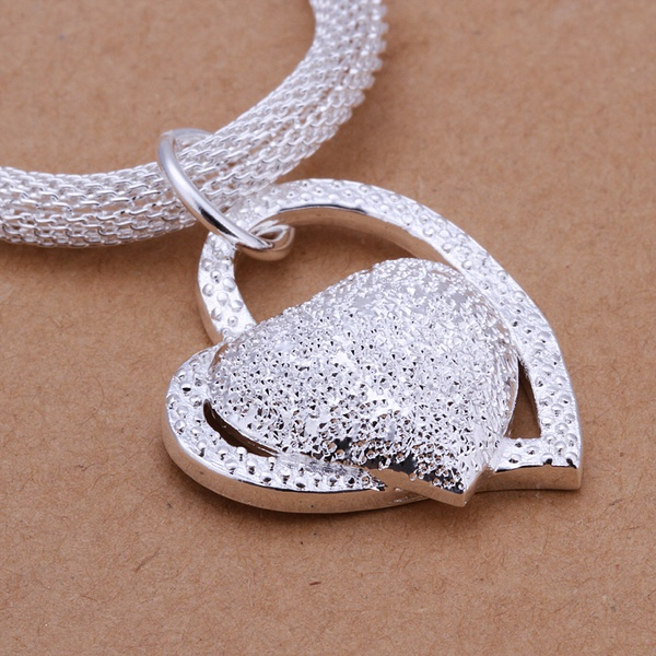 silver color gorgeous charm fashion charm heart wedding lady love necklace noble luxury 18 inches Silver jewelry , N270 2