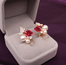 New Korean Jewelry Rose Pearl Butterfly Earrings Popular Fashion Camellia Flower Ear Clip For Gift