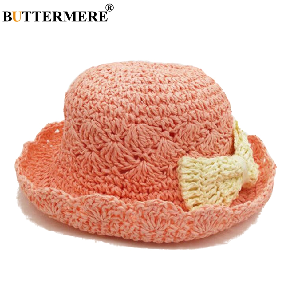BUTTERMERE Straw Bucket Hat For Child Pink Hollow Bowknot Bob Sun Hat Children Kawaii Anti-UV Breathable Summer Fishing Cap New