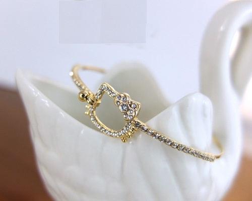 Korean european simple elegant fashion gold plated thin wire bangle ...