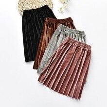 New Velvet Pleated Skirt Girls Autumn Winter Fashion Toddler Stretch Waist Spring Skirts