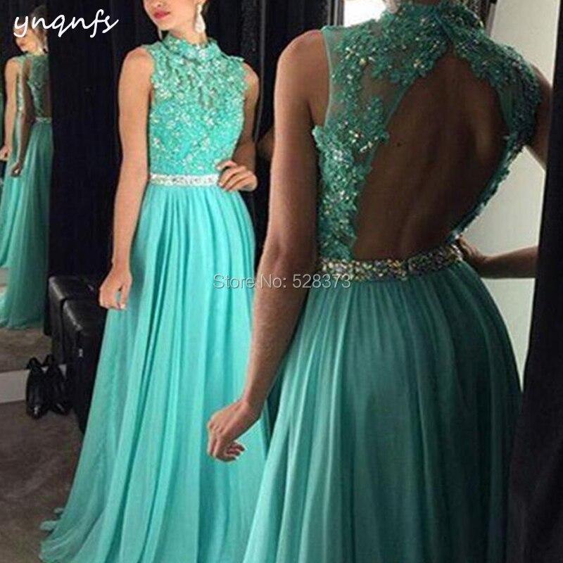 YNQNFS ED198 Vestidos de Fiesta de Noche Open Back Elegant Formal Gown Aqua Bridesmaid Dresses 2019