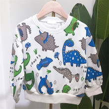 2019 Autumn Boys Girls Sweatshirts New Casual Cartoon Little Dinosaur Animal Print Children Clothes Cute Tops T-shirt