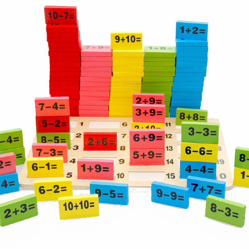 BOHS Kids Child Wooden Multicolour Mathematics Math Domino Blocks Early Learning Toy Sets, 1SET=110PCS+ 1PC Storage Bag children wooden mathematics puzzle toy kid educational number math calculate game toys early learning counting material for kids