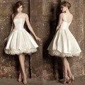 Само декольте слоновая кость линия короткое свадебное платье до колен 1950-х годов свадебные платья дешевые 2015