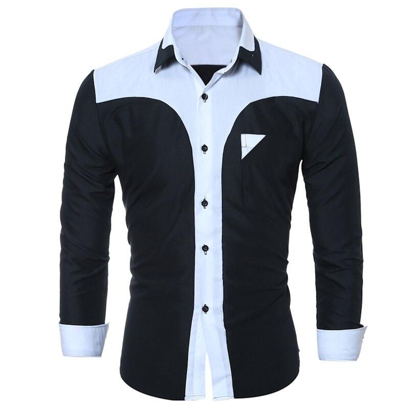 WSGYJ Brand 17 Fashion Male Shirt Long-Sleeves Tops Fashion Youth Hit Color Mens Dress Shirts Slim Men Shirt 3XL 6