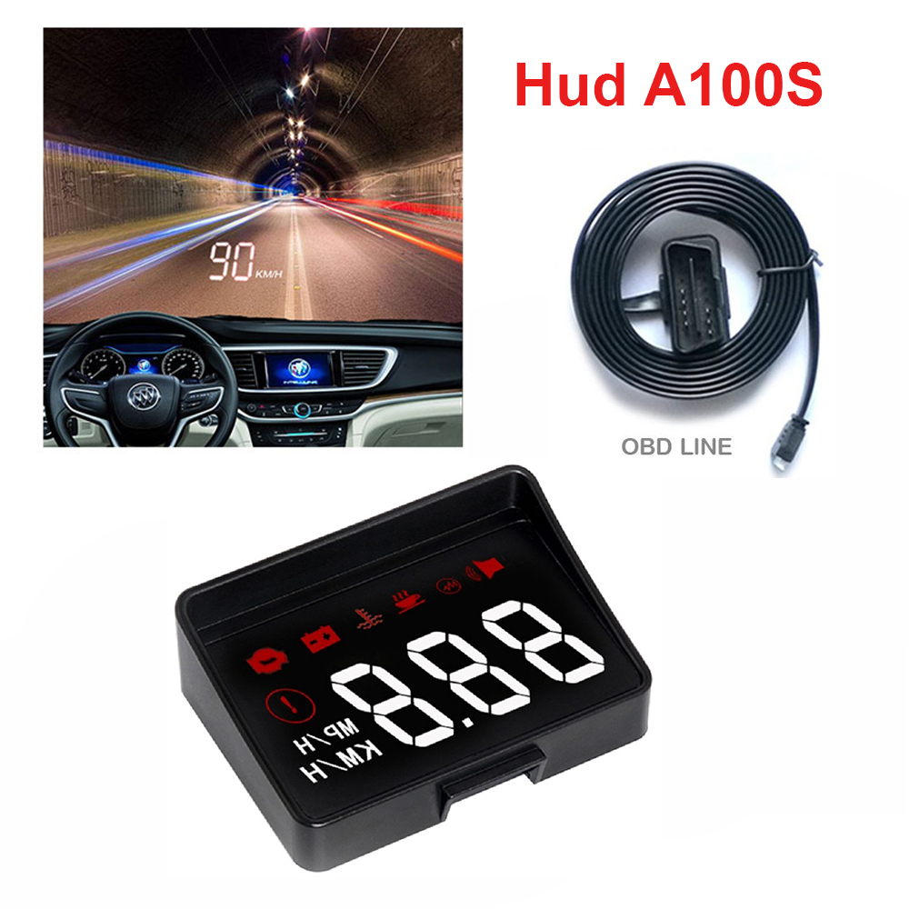 Car HUD Head Up Display OBD2 Interface Plug&Play Vehicle Speed KM/h MPH HD Display OverSpeed Warning, Water Temperature Voltage