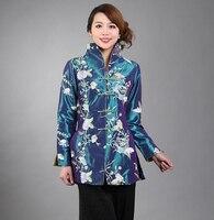Spring Autumn Blue Chinese Style Embroidery Jacket Female Silk Satin Long Coat Flower Outwear S M L XL XXL XXXL M 21