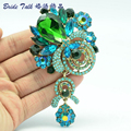 Bayliner Fashion Vintage Green Crystal Rhinestone Brooches Bouquet Flower Brooch Pins Accessories Women BLN6456