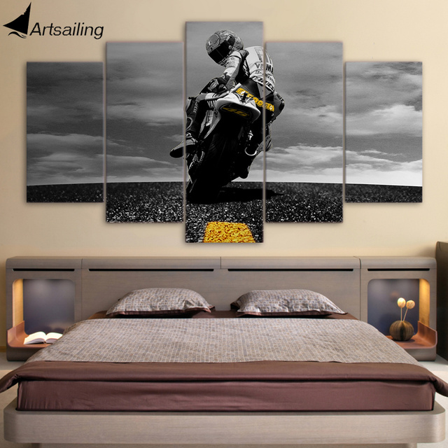 framed wall art for living room colours to match grey sofa 5 piece canvas motorcycle poster painting pictures modular ny 6625a
