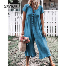 JSMY Summer Sexy Button Cotton Linen Solid Color Wide Leg Straight Jumpsuit Trousers