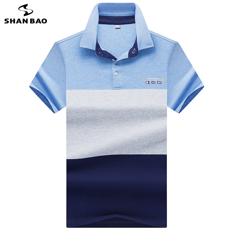 2019 summer new style high quality cotton stitching lapel short sleeve   Polo   shirt British style embroidery men's   Polo   shirt