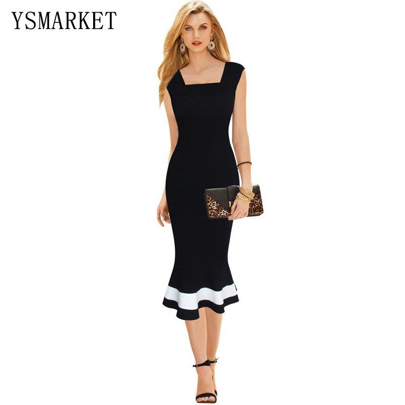 5af859f66 Nueva negro blanco Patchwork verano vestido elegante mujeres sin mangas  Bodycon Midi vestido de fiesta Formal Oficina damas vestido A1069