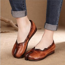 2016 spring and summer personality handmade genuine leather women shoes casual soft comfortable full grain leather flat shoes