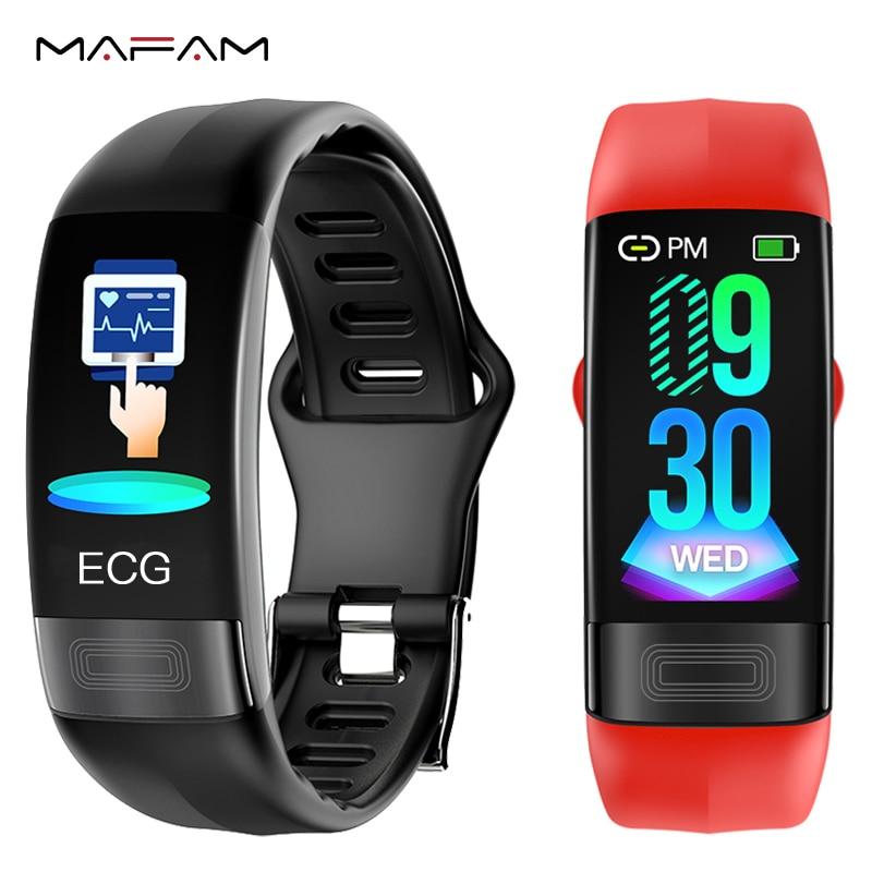 PPG MAFAM P11 ECG faixa de relógio Inteligente Monitor de Freqüência Cardíaca Pressão Arterial Pulseira Relógio Inteligente 2019 Mais Novo Pulseira À Prova D' Água