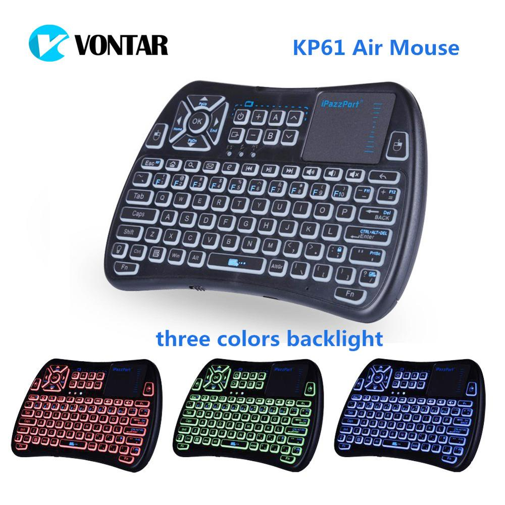 Air Mouse 2.4GHz mini Wireless Keyboard with Backlight and touchpad Learning Function KP61 for Android TV Box PAD XBOX PC h18 plus keyboard 2 4g wireless touchpad keyboard backlight air mouse with touchpad mouse for smart tv android box computer