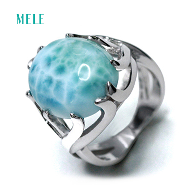 Natural larimar silver ring, oval shape 14mm*16mm , rare blue stone and beautiful  design, really treasure