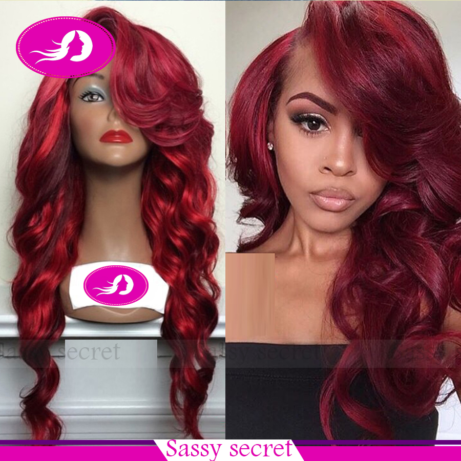... Wigs Red Burgundy Ombre Color Heat Resistant Synthetic Hair Wigs(China