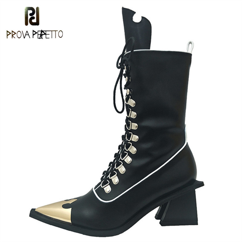Prova perfetto New Mortorcycle Boots Cool Women Shoes Fashion Rivets Lace up Botas Mujer Ankle Short Boots Pointed Toe Botas-in Ankle Boots from Shoes    1