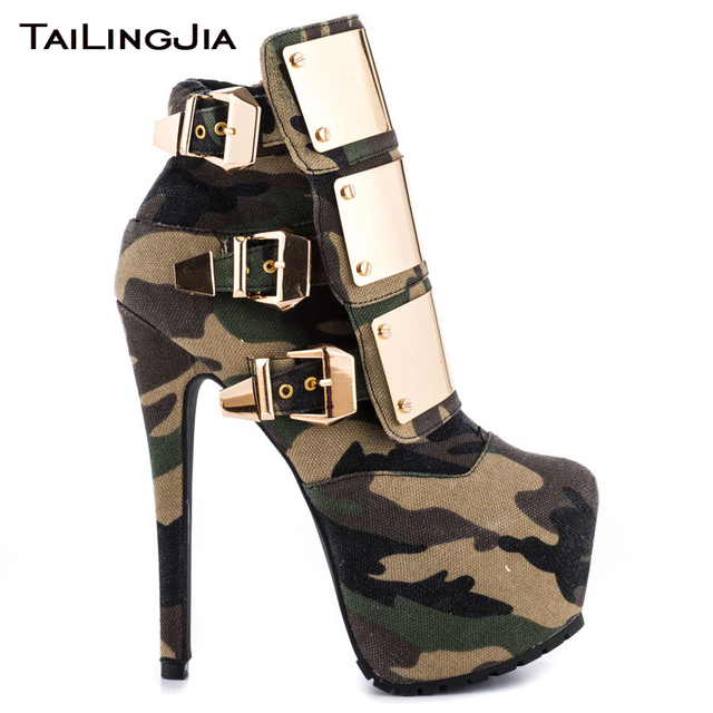Woman Soldier Style Extremely High Heel Ankle Boots With Camouflage Ladies Fashion Shiny Platform Short Boots With Metal Buckle