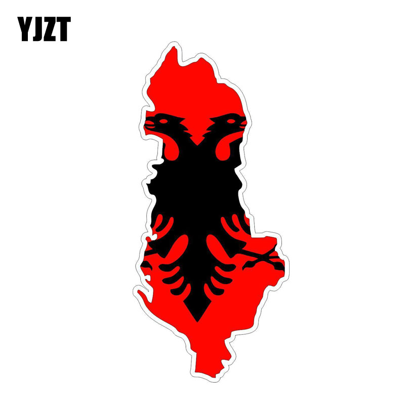 YJZT 13.5CM*6CM Personality Accessories Albania Flag Map Body Car Sticker Decal 6-1216