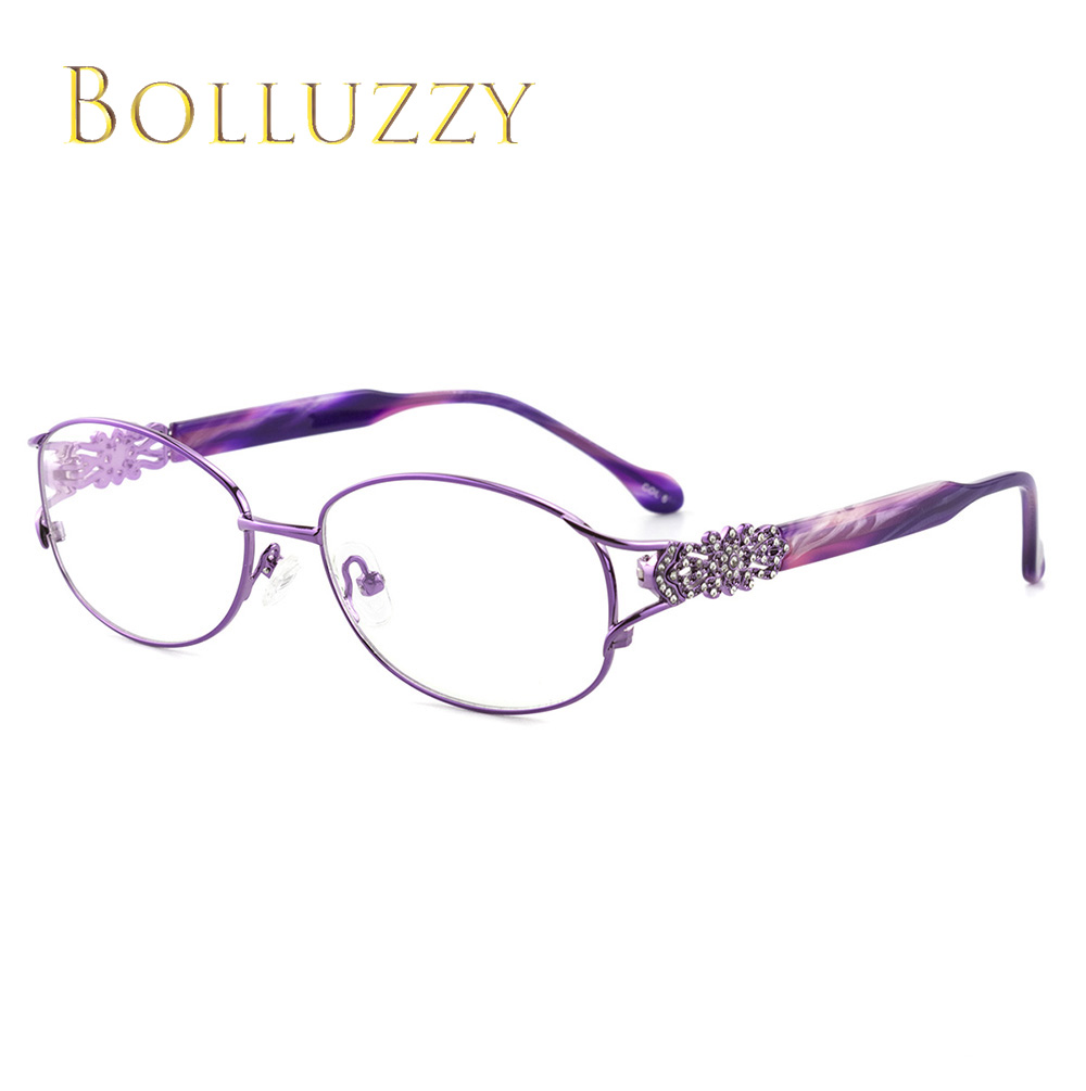 Image 3 - Women's Degree Eyeglasses Frame with Diamonds Rhinestone Golden Hollow Out Optical Eyeglasses Frame With Flower For Women 2399-in Women's Eyewear Frames from Apparel Accessories
