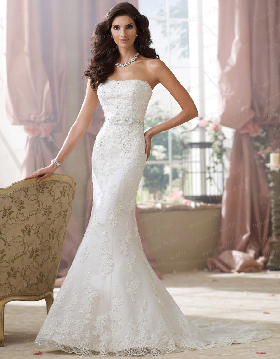 free shipping designer discount trumpet mermaid strapless court train bride wedding gown with heavy appliques bn434