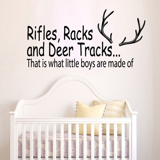Free Shipping Wall Decal Quote S Racks And Deer Tracks Hunting Vinyl Sticker Boys Nursery Decor
