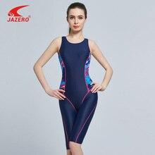 JAZERO 2018 One Piece Swimsuit Women Print Professional Sports Backless Body Suits Knee-length Swimwear Bathing Suit