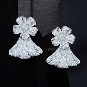 Image 5 - יוקרה גדול פרח שרשרת צמיד עגיל טבעת תכשיטי סטי מעוקב Zirconia לחתונה אירוסין יום נישואים ביצועים