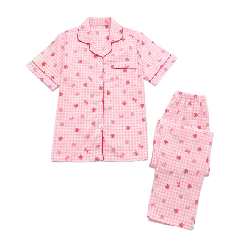 Cute strawberry short sleeve   pajamas     sets   women kawaii 100% gauze cotton casual 2 piece pyjamas mujer women homewear sleepwear