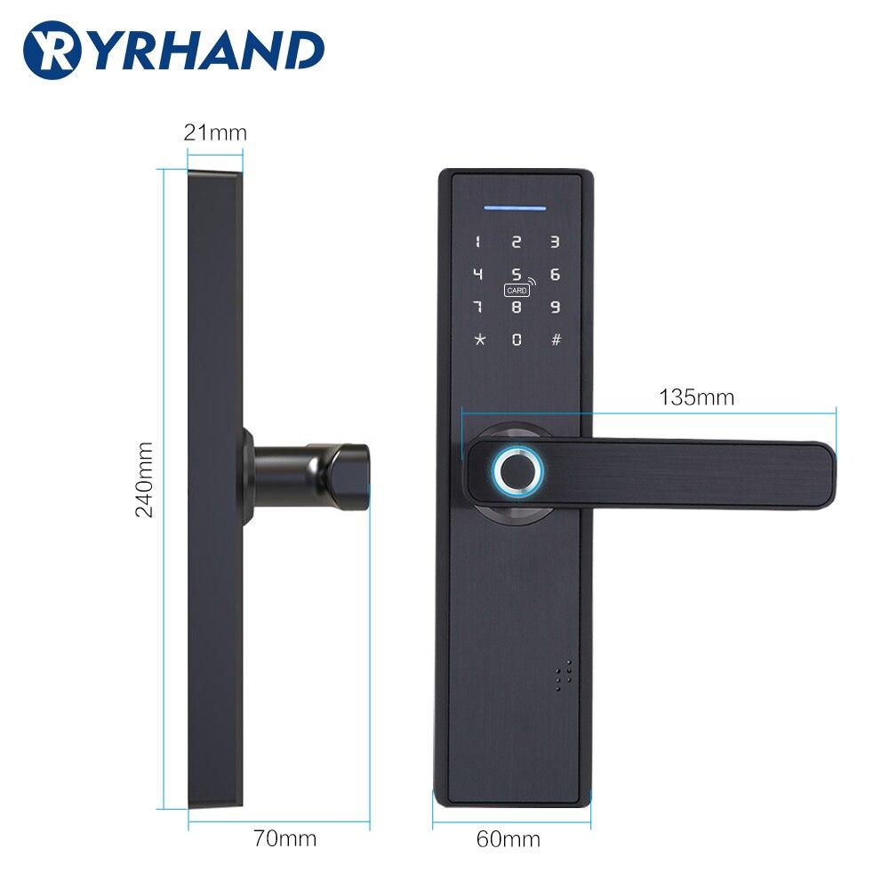 YRHAND Fingerprint Lock Smart Card Digital Code Electronic Door Lock Home Security Mortise Lock