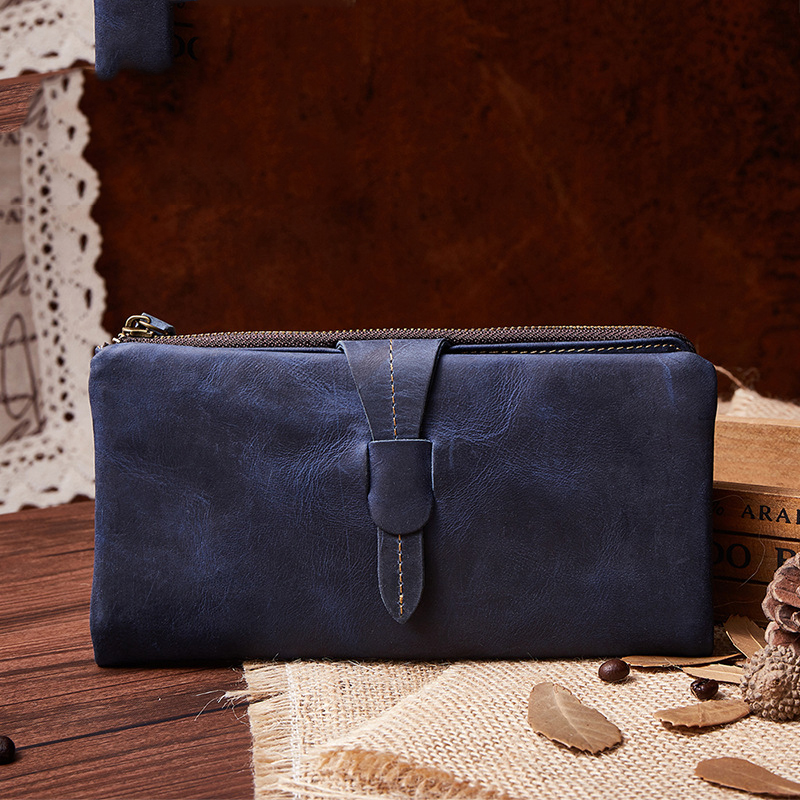 19x10CM New Women Leather oil nubuck Wallet  Retro Long Wallet Large Capacity Fashion Casual  Clutch Bag A4234 yuanyu 2018 new hot free shipping real thai crocodile women clutches dinner long women wallet large capacity women bag