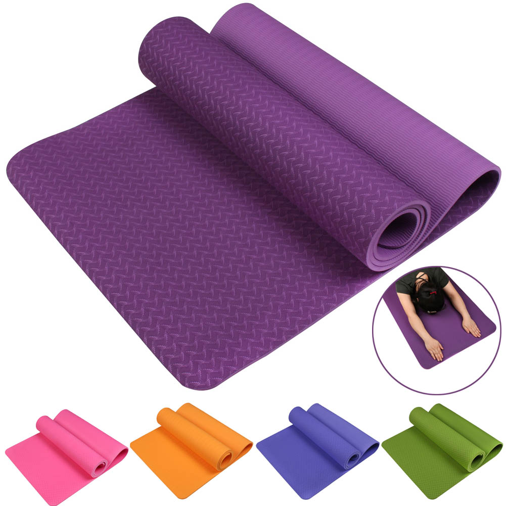 No-slip Yoga Mat 6mm TPE Sport Yoga Mat Fitness Pilates Gymnastics Widening Thickening Pad BB55 dature tpe yoga mat 6mm fitness mat fitness yoga sport mat gymnastics mats with yoga bag balance pad yogamat 183 61cm 6mm