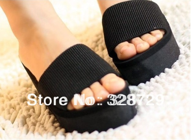YW style Summer platform sandals elastic strap wedges drag platform slippers female sandals women's shoes