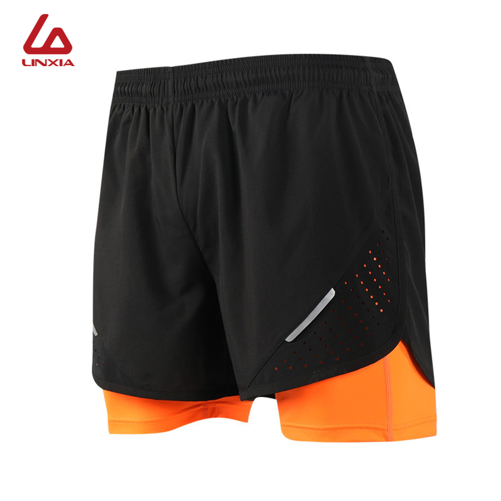 Men's 2 In 1 Training Exercise Shorts Basketball Pants Fast Dry Breathable Sports Tight With Lining Shorts Running Fitness Short(China)