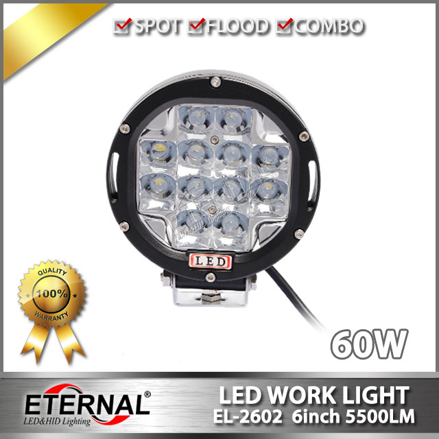 free shipping-60W driving light round headlight 6 4x4 offroad powersports buggy outdoor racing vehicles truck trailer work lamp