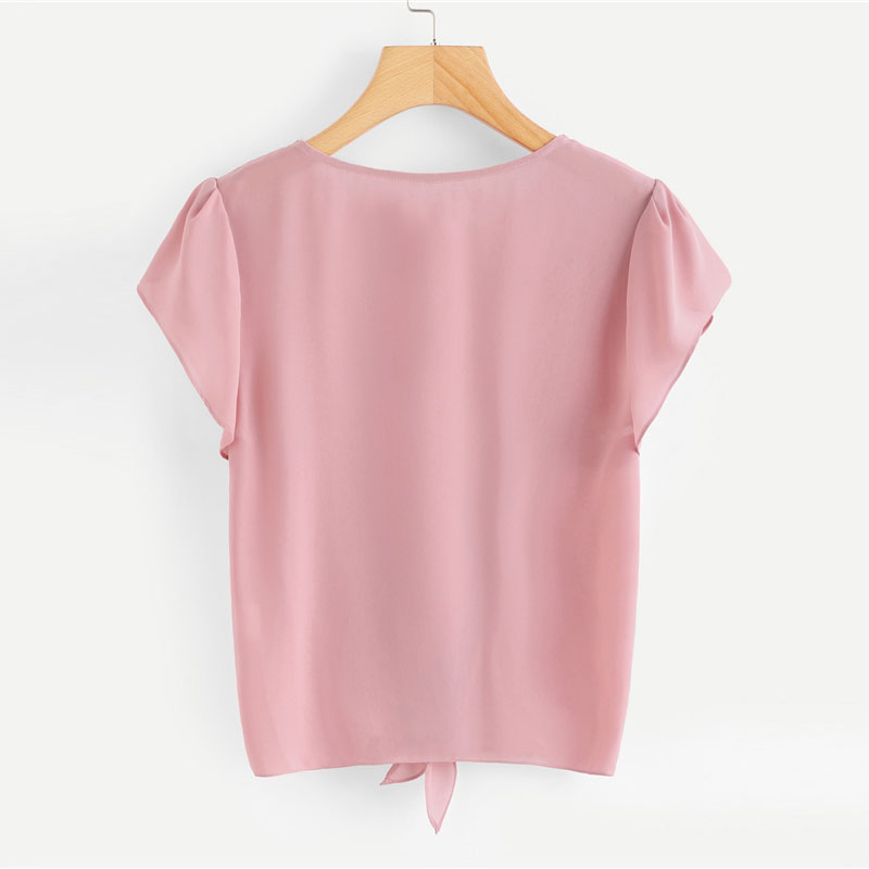 ec5a6983019c SHEIN Pink Petal Sleeve Knot Front Top Women Round Neck Short Sleeve ...