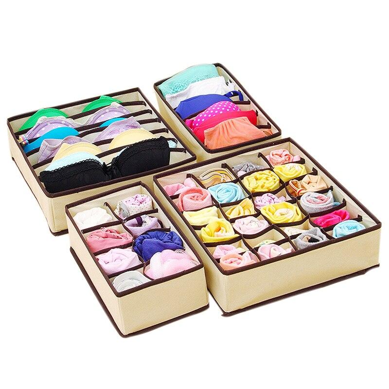 Tnukk 4Pc Underwear Bra Organizer Storage Box 2 Colors Beige/Rose Drawer Closet Organizers Boxes For Underwear Scarfs Socks Bra