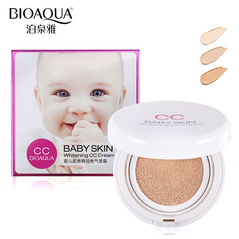 BIOAQUA Brand Air Cushion BB CC Cream Baby Skin Liquid Foundation Concealer VE Hyaluronic Acid Moisturizer Primer Base Makeup new pnf brand makeup moisturizer whitening air cushion bb cc cream primer face concealer brightener foundation base bb cream